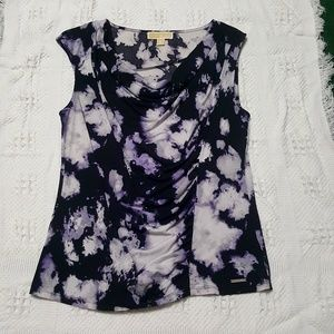 Michael Kors Ruched Purple and Black Tank Top